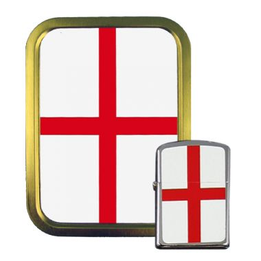 2oz Tobacco Tin and Petrol Lighter Combo - English Flag