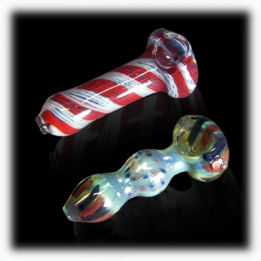 8cm Hand-Blown Rainbow Glass Pipe