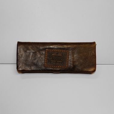 Kavatza Mini Rolling Pouch - Brown Embossed Leather