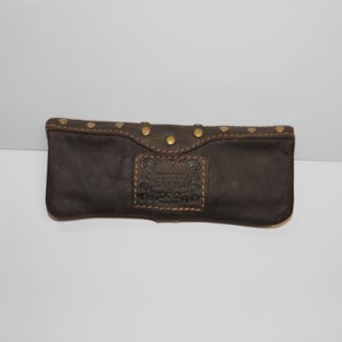 Kavatza Mini Rolling Pouch - Studded Brown Leather