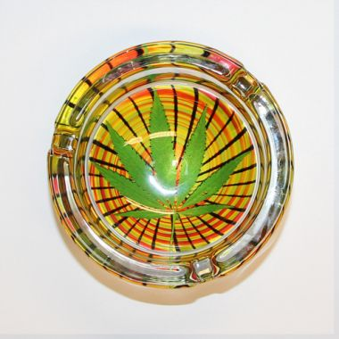 The Hemp Collection Glass Ashtrays - Psychodelic Swirl Leaf