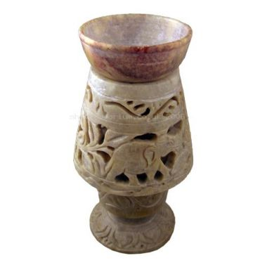Carved Lantern Soapstone Oil Burner