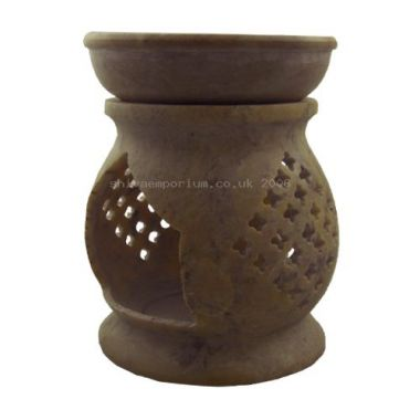 Jali Carved Soapstone Oil Burner - Extra Large