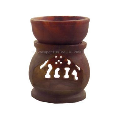 Jali Carved Soapstone Oil Burner - Small