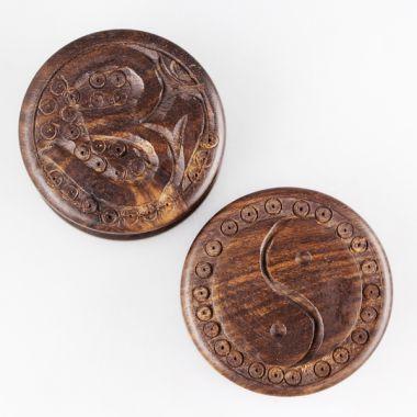 a stylish wooden herb grinder