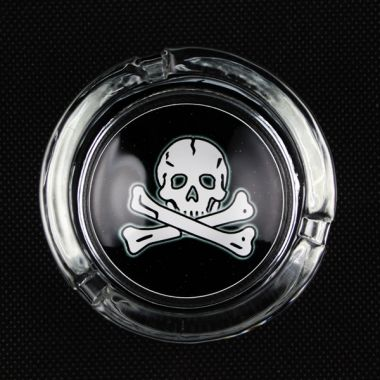 The Skull Collection Glass Ashtrays - Skull and Crossbones